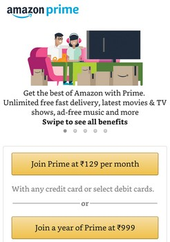 Amazon Prime Monthly Subscription Plan