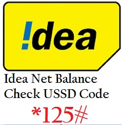Idea Net Balance Check USSD Codes / Number