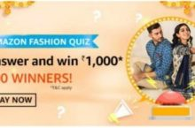 Amazon Fashion Quiz Answers Win ₹1,000 (100 Winners)