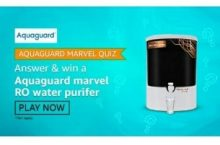 Amazon Aquaguard Quiz Answers Win Marvel RO Water Purifer