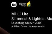 Mi 11 Lite Next Sale Launch Date 22 June, Flipkart Price In India