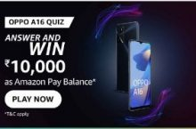 Amazon OPPO A16 Quiz Answers Win Rs.10,000