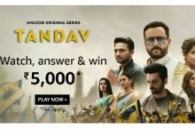 Amazon Tandav Quiz Answers Win ₹5,000 Pay Balance